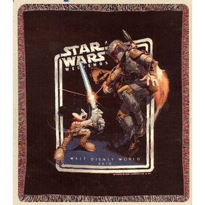 Disney Throw Blanket  Star Wars 2010 Logo Jedi Mickey