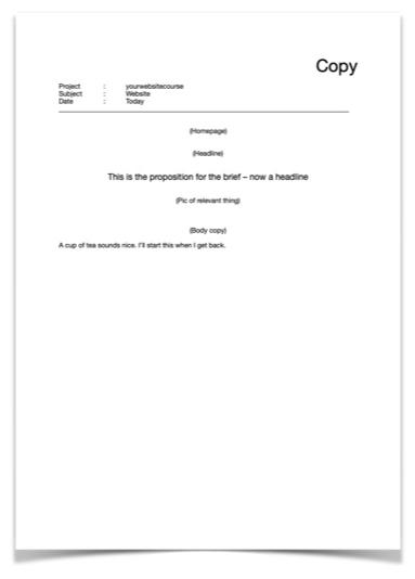 Example copy sheet