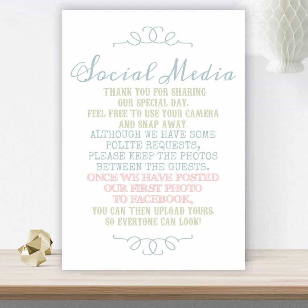 no social media wedding sign