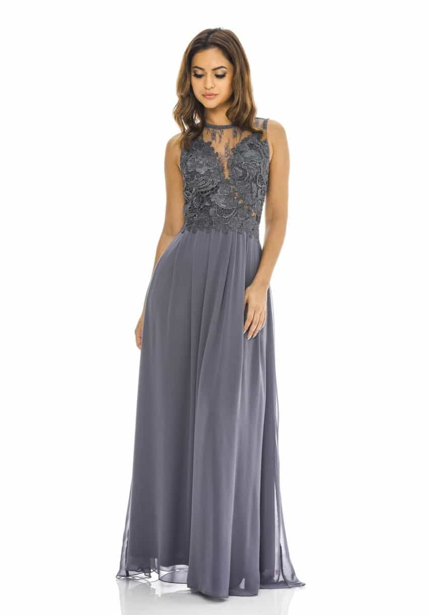 grey crochet dress