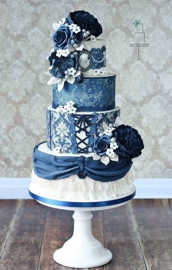 denim wedding cake