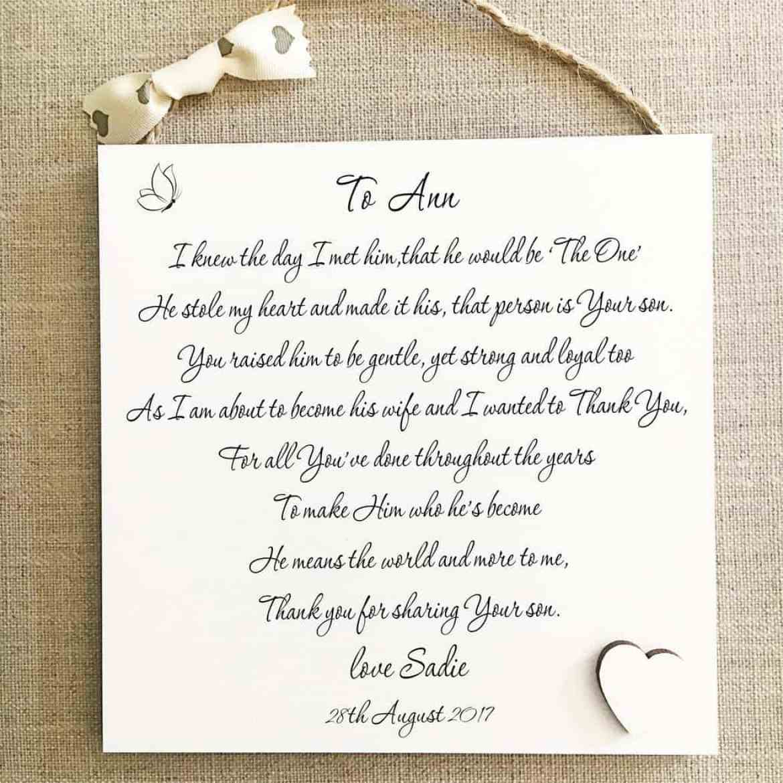 mother of groom plaque