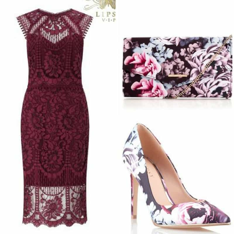 Burgundy and Floral occasion outfit