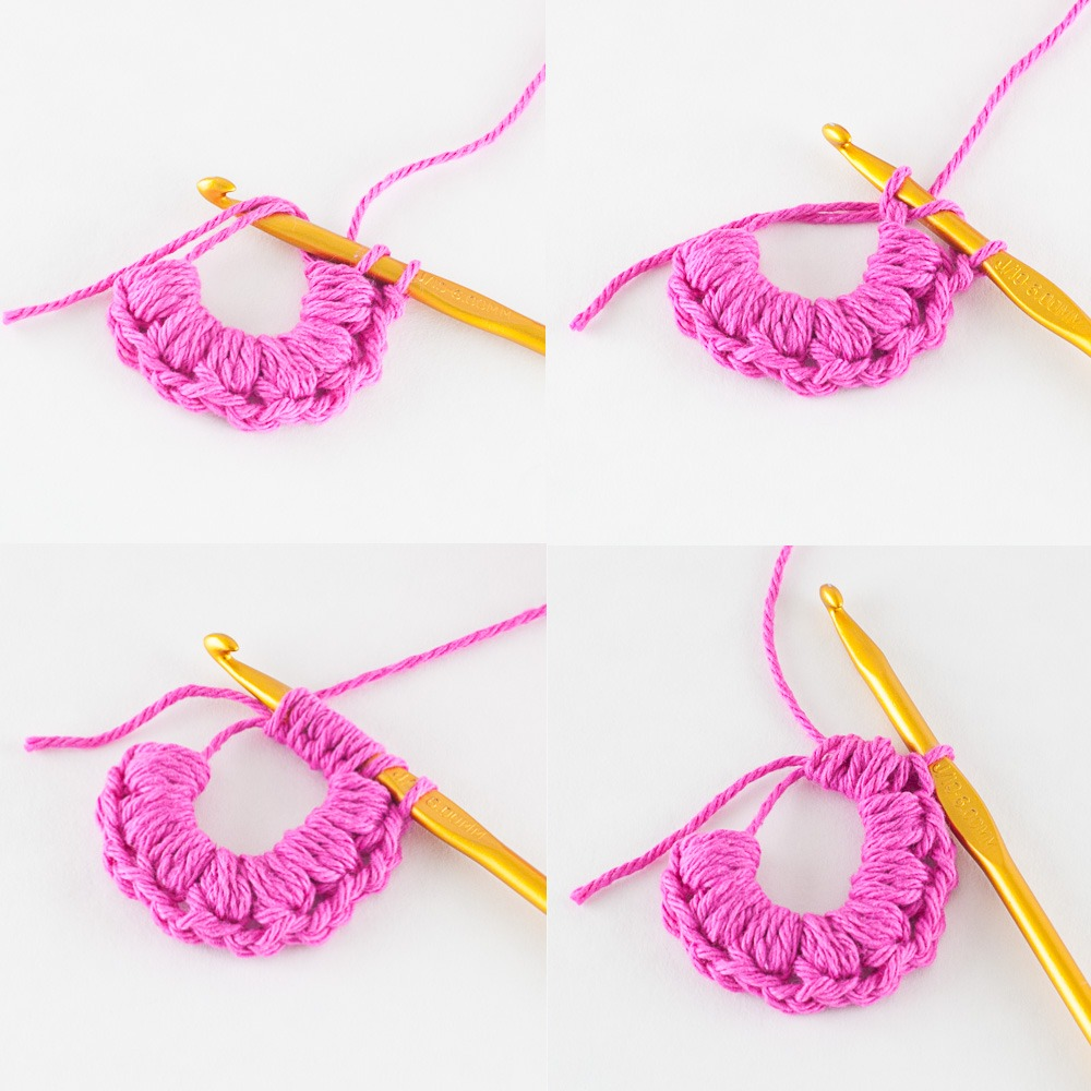 step-by-step guide for how to puff stitch, with pink yarn and a gold hook
