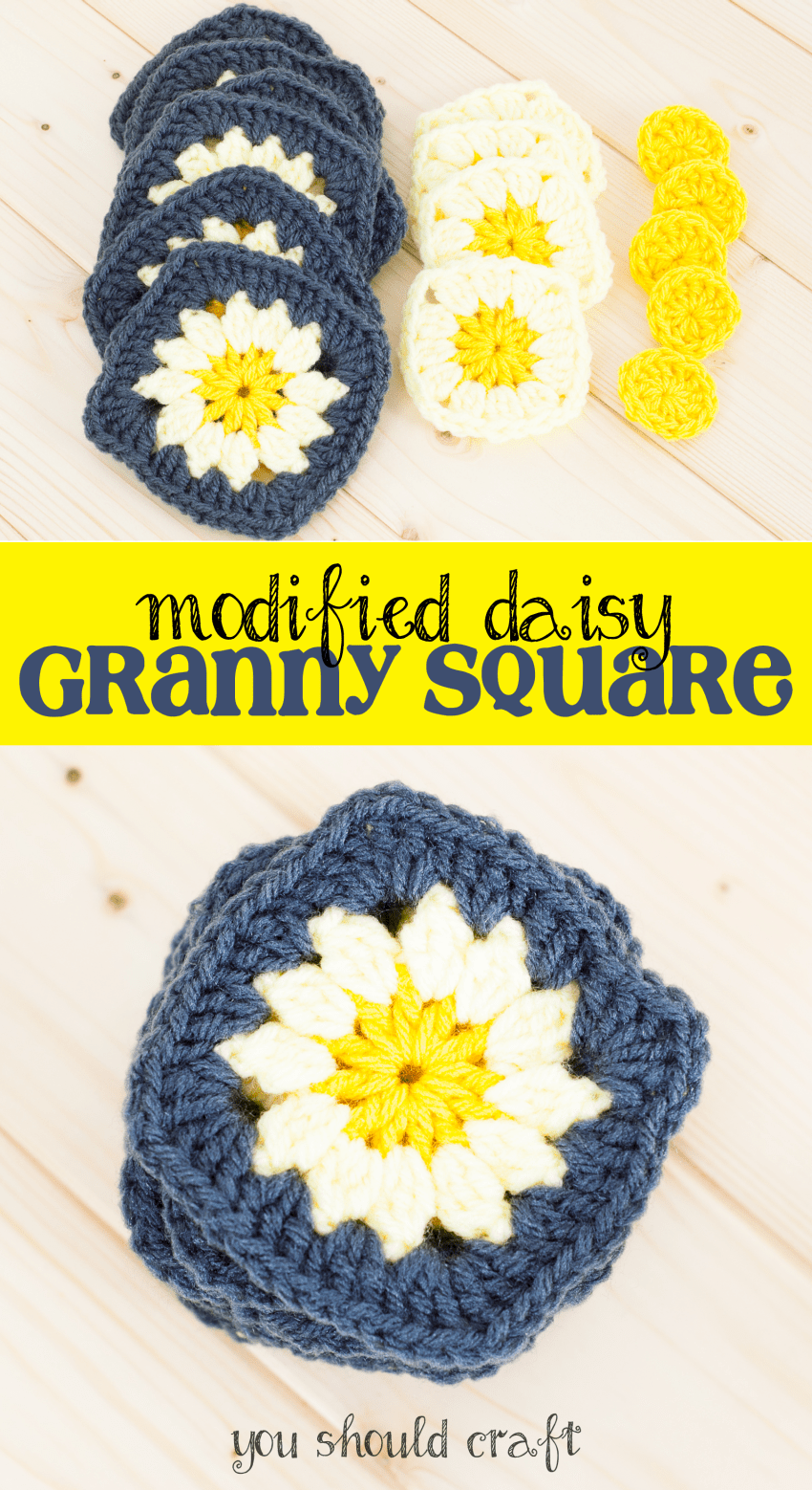 Looking to crochet a cute and easy granny square this spring? Look no further! These modified daisy granny squares are only three rounds, can be used with classic granny squares, and have an adorable daisy flower at the center. They're the perfect crochet project for spring! via YouShouldCraft.com