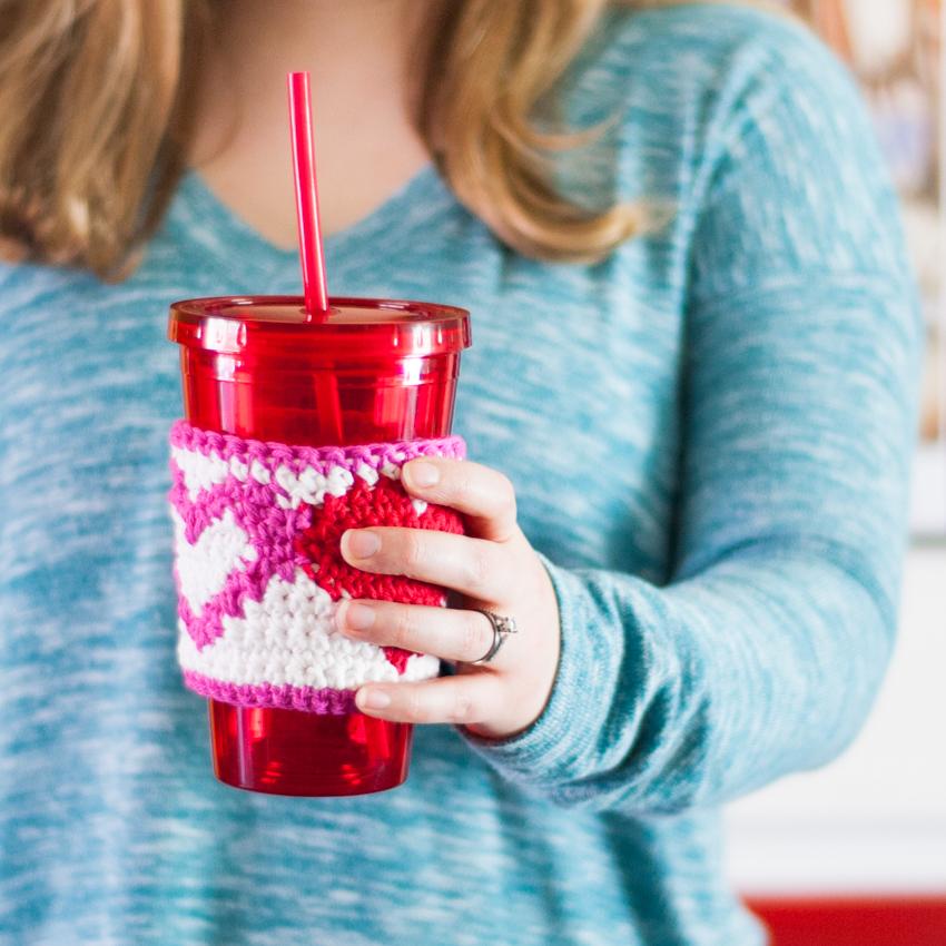 Tapestry Heart Cup Cozy - Free Crochet Pattern