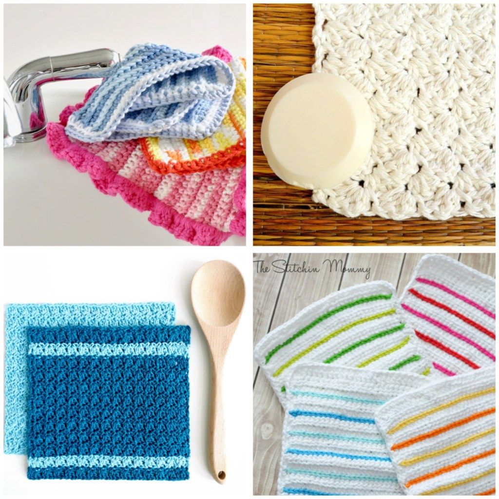 a 4-image collage of crochet dishcloths