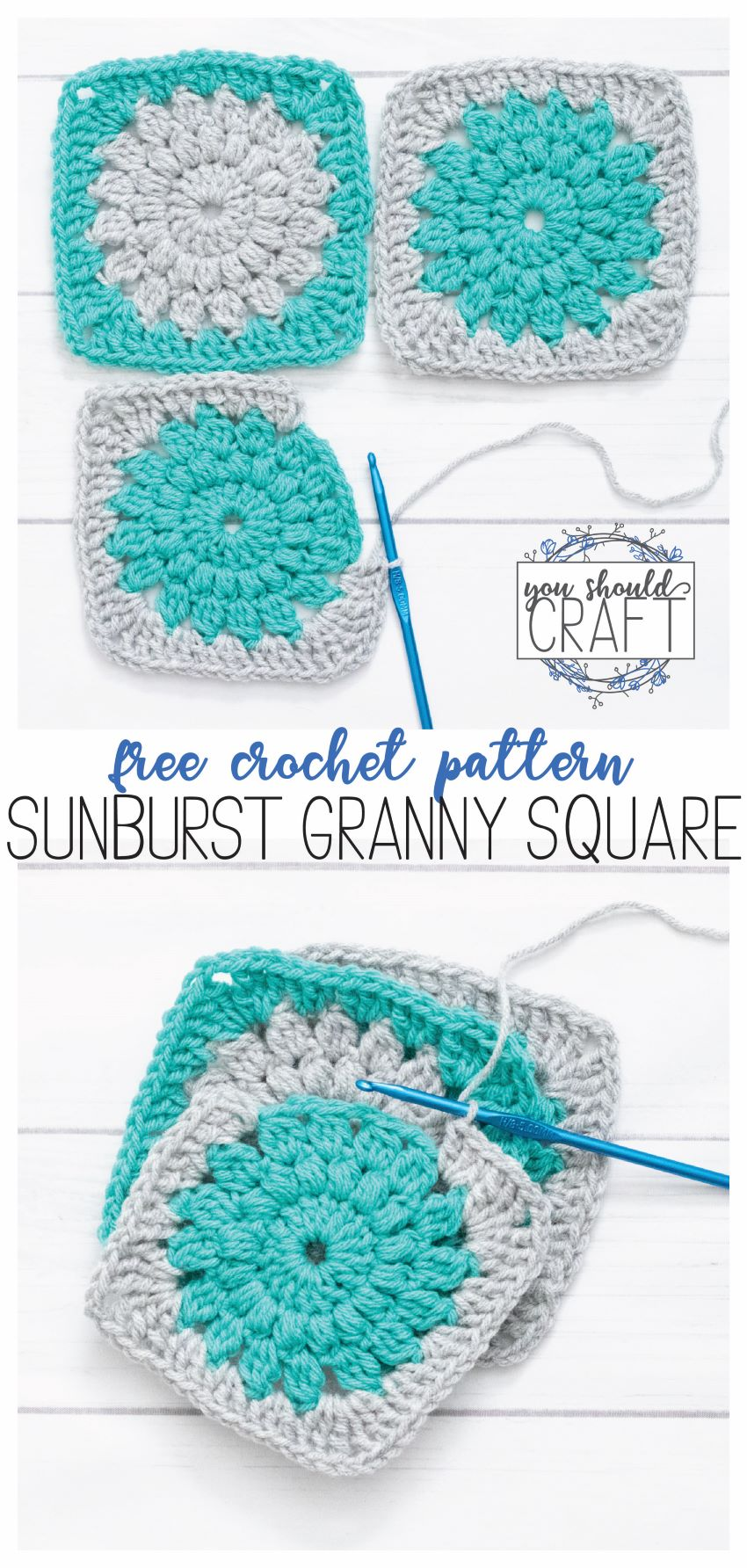 """collage of two sunburst granny square images with the text """"Free crochet pattern: sunburst granny square"""""""