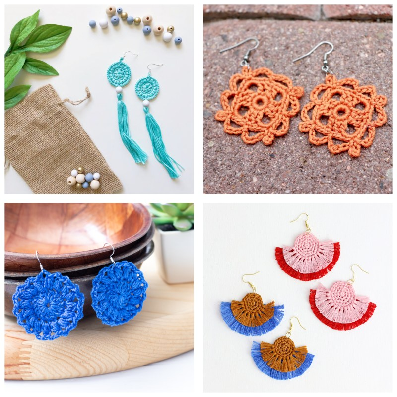 collage of four pairs of crocheted earrings