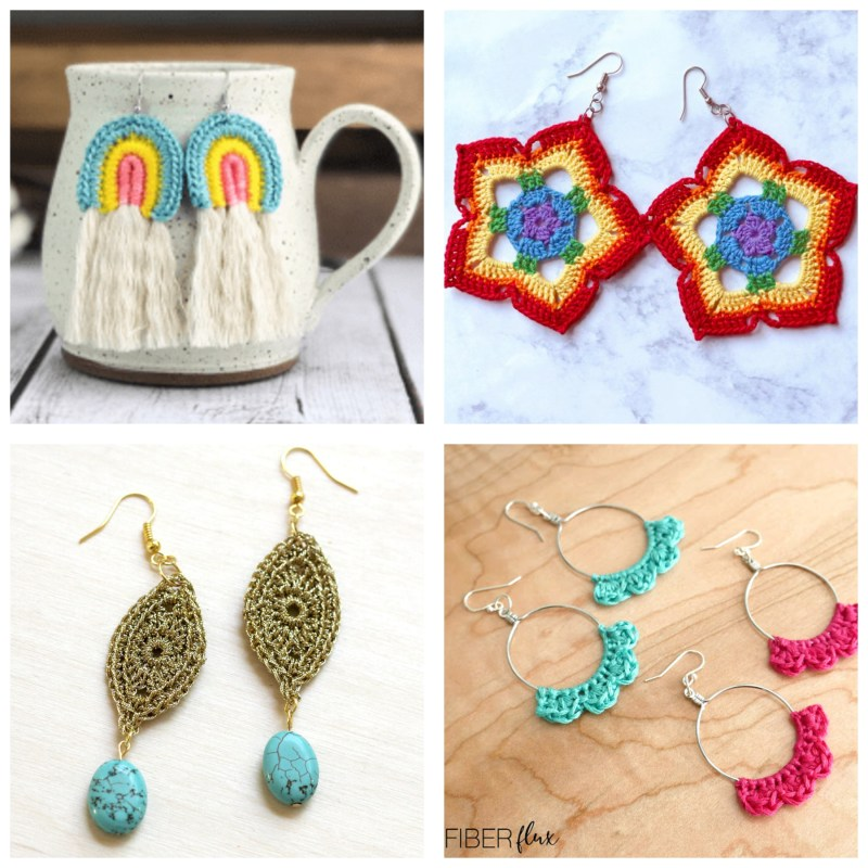 collage of four images of crochet earrings