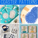 "collage of four images of crocheted coasters with the words ""16 free crochet coaster patterns - curated by You Should Craft"""