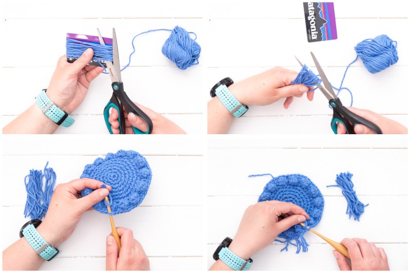collage of four images demonstrating how to add fringe to the crochet coasters