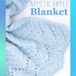 "blue crocheted blanket on a white background, with text ""mystic ripple blanket, free crochet pattern from you should craft"""