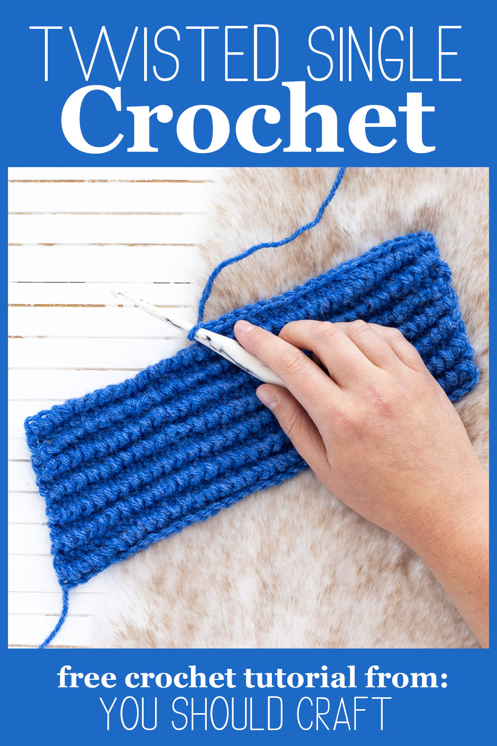 hand crocheting ribbing using the twisted single crochet, on a fur background.