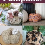 collage of four images of crocheted pumpkins on a purple background with white text