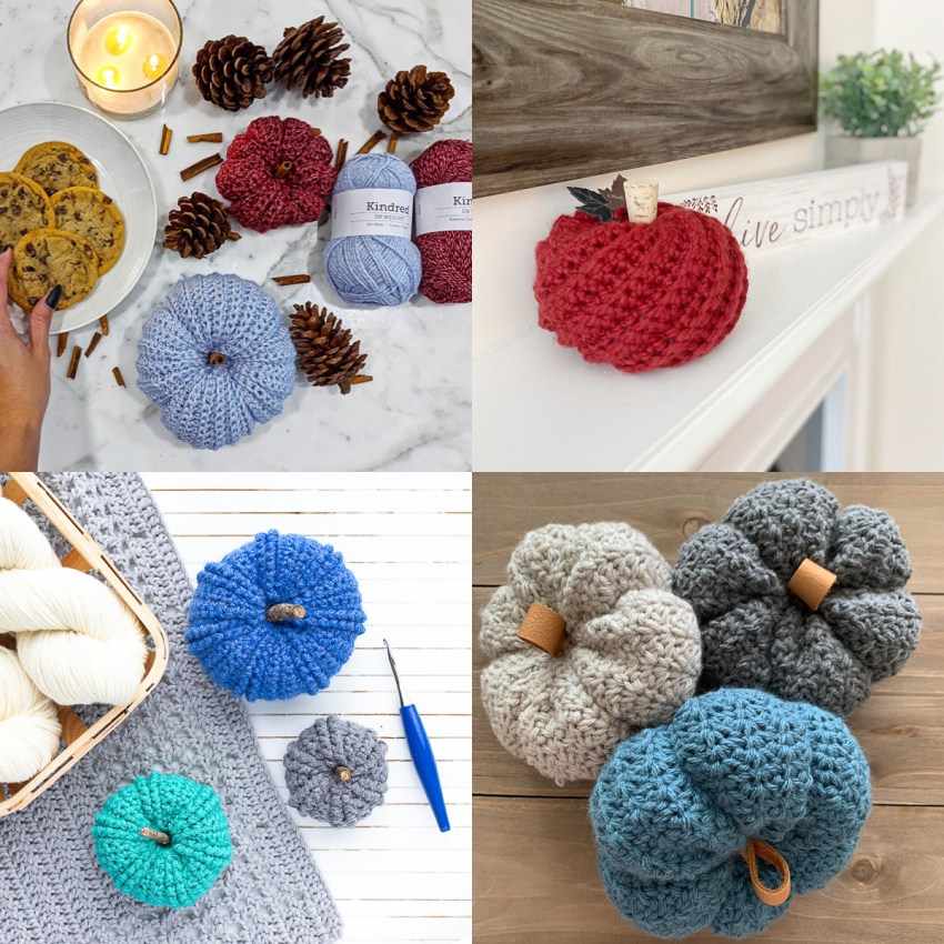 collage of four images of blue, grey, and red crochet pumpkins