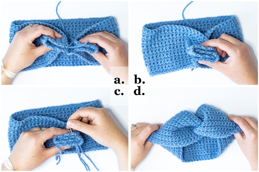 step-by-step collage demonstrating how to make the twist in the twisted ear warmer