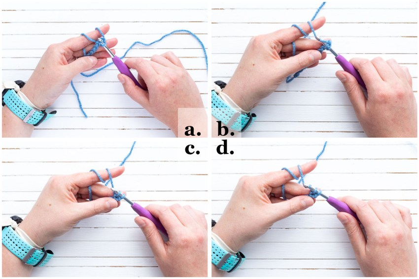 collage of four images showing how to single crochet