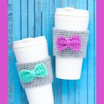 """two white cups with coffee sleeves with bows and the text """"beginner coffee sleeves - you should craft"""""""