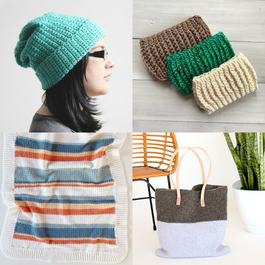 collage of four single crochet patterns on light colored backgrounds