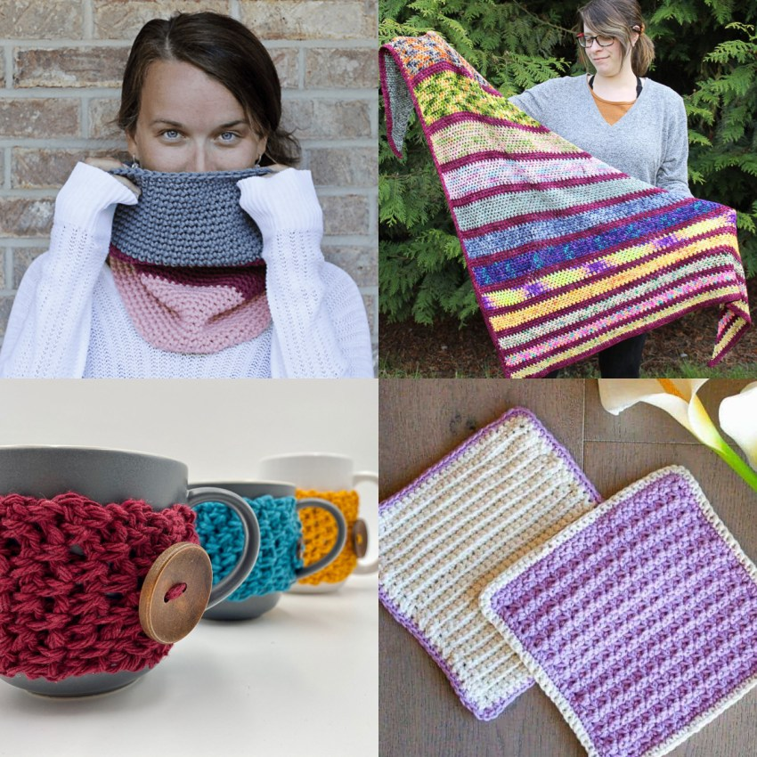 collage of four images of patterns from single crochet stitches, with purples and reds