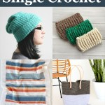 """collage of single crochet pattern pictures and text """"beginner-friendly single crochet - 16 free crochet patterns curated by: you should craft"""""""