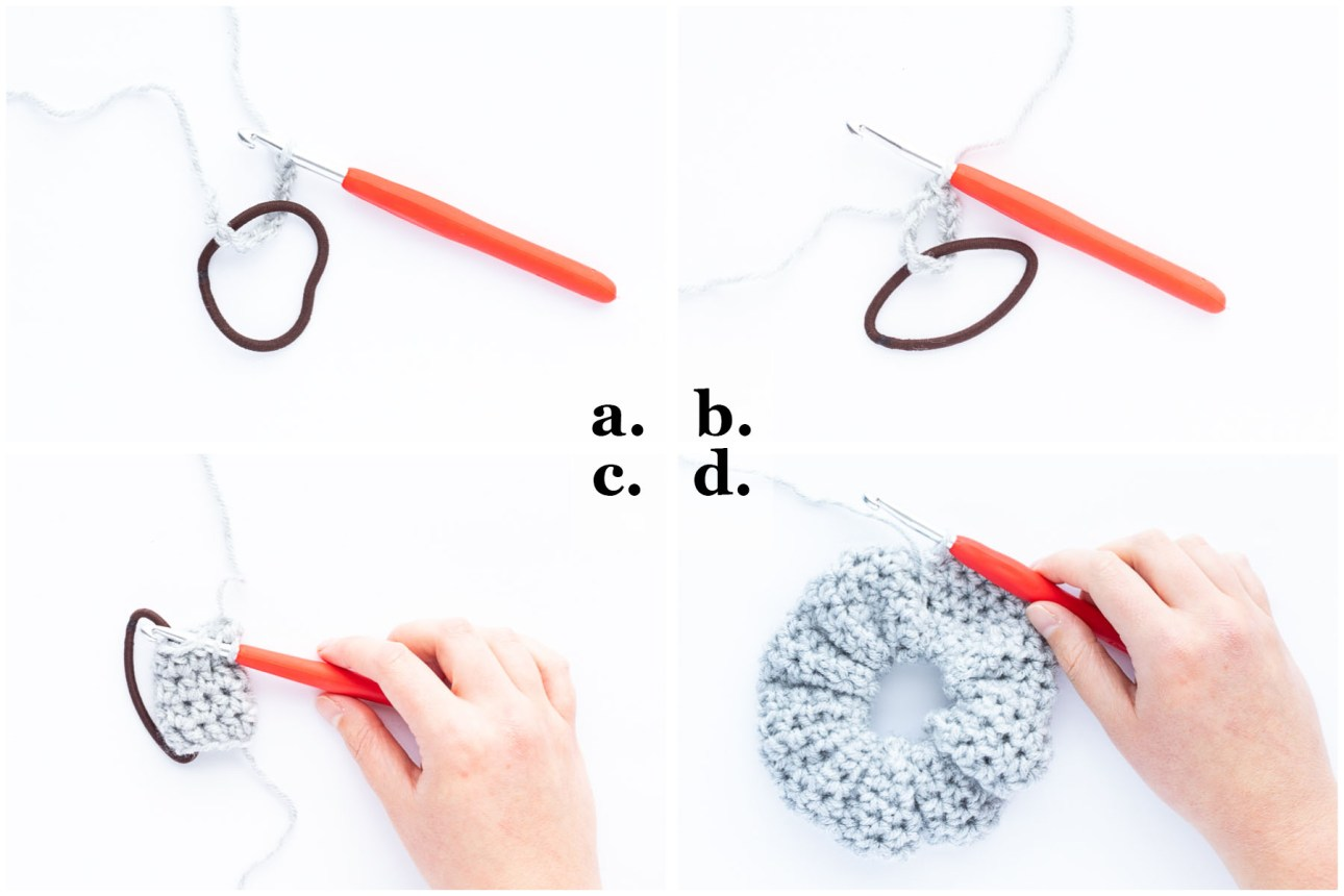 step-by-step photo collage demonstrating how to crochet a beginner hair scrunchie using hdc