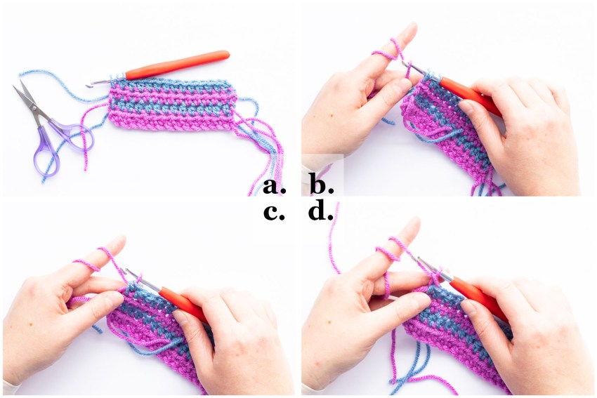 step-by-step collage demonstrating how to change colors in crochet
