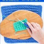 """hand crocheting with text overlay """"fpdc front post double crochet - learn how to crochet with you should craft"""""""