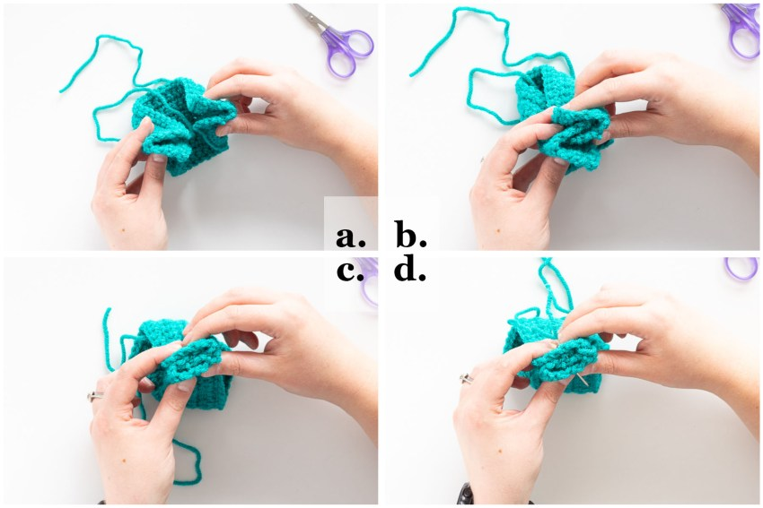 step-by-step images demonstrating how to create the twist