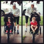 Parenting while pushing the running stroller