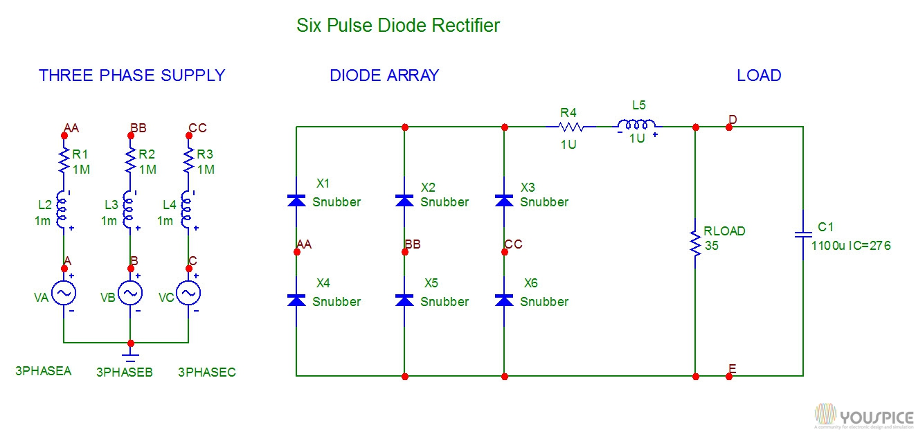 simple home electrical wiring diagram sony car stereo 3phase rectifier with snubbers - youspice