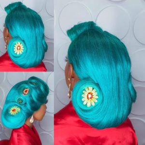 Bridal shoot with colorful hair style
