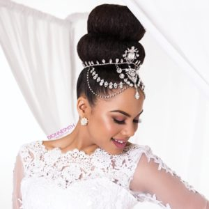 Bride with high bun hairstyle