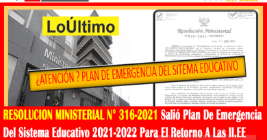 ✅[RESOLUCION MINISTERIAL N° 316-2021] Salió Plan De Emergencia Del Sistema Educativo 2021-2022 Para El Retorno A Las II.EE