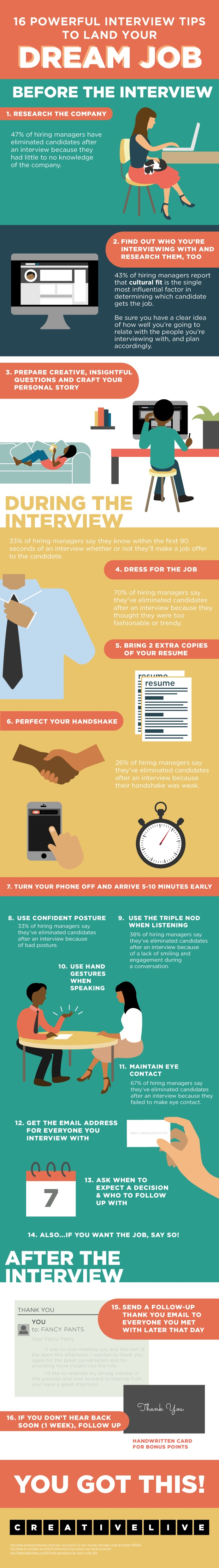 16 powerful interview tips to land your dream job infographic the savvy intern by youtern