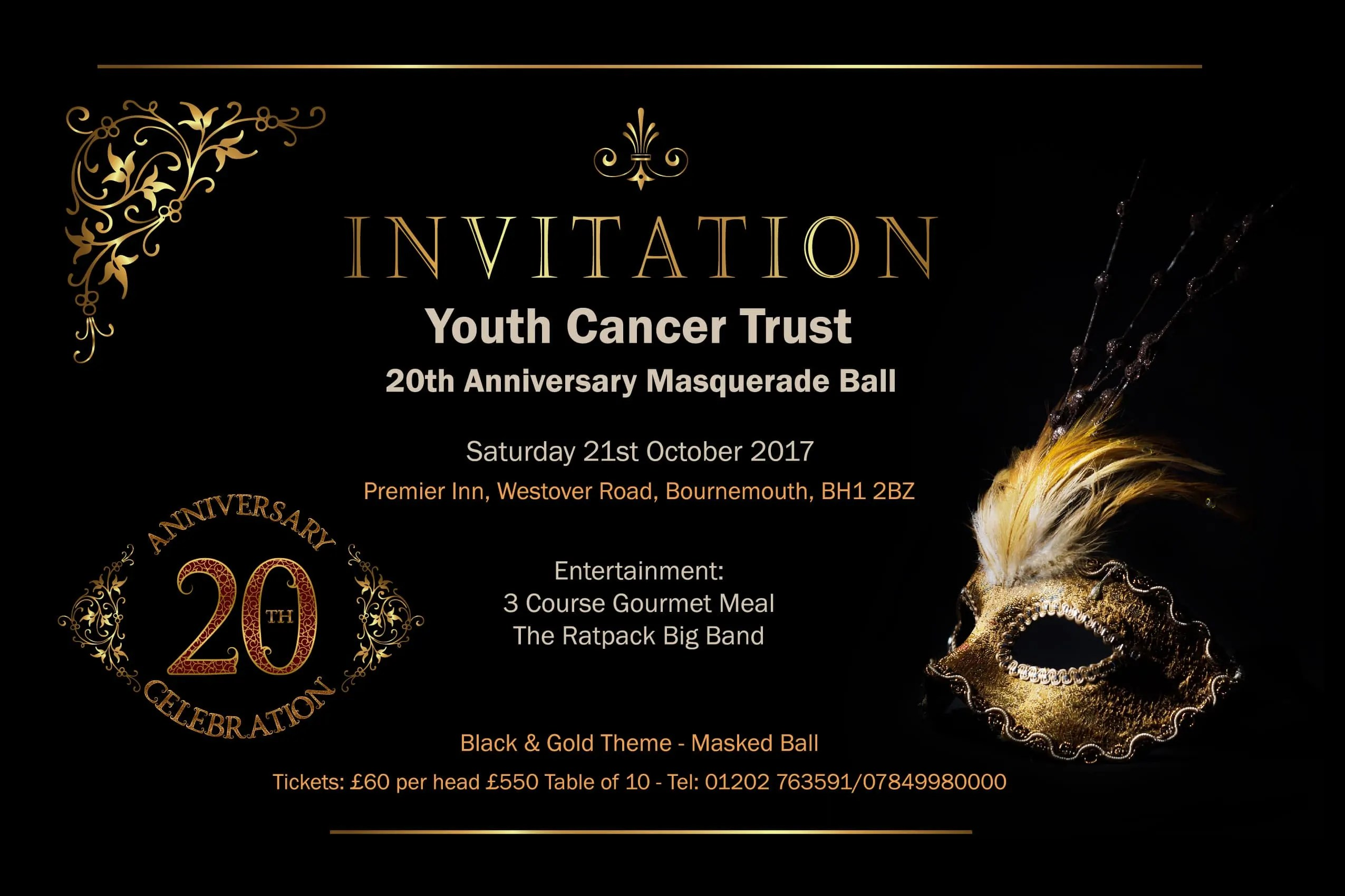 20th Anniversary Masquerade Ball Youth Cancer Trust