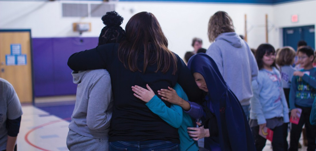 Students and staff building community on a kindness retreat