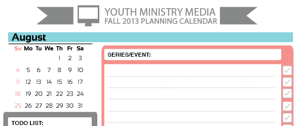 Free august planning calendar youth ministry media for Youth group calendar template