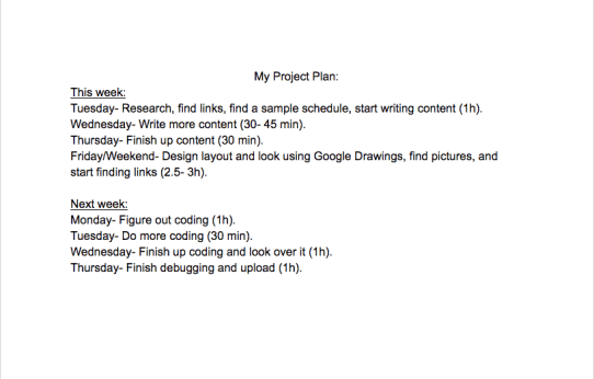 My Project Plan