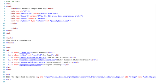 Some HTML code in my homepage