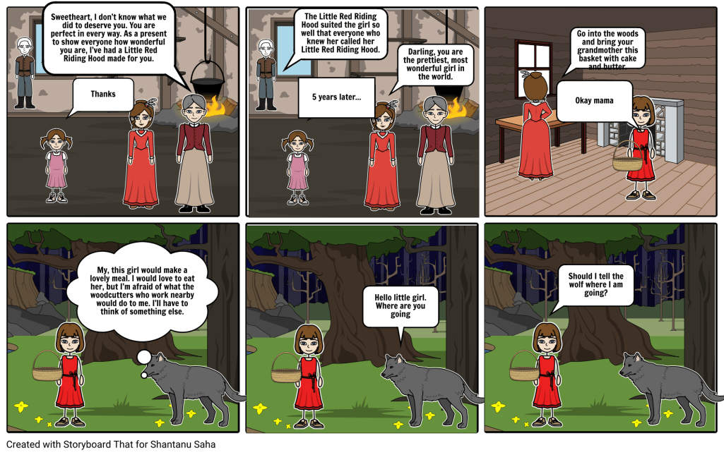 This is the original ending, but also my modified ending, where Little Red Riding Hood stays alive.