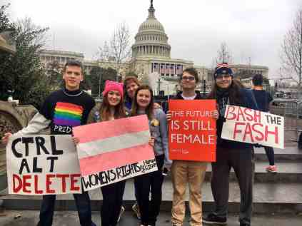 The crew of my friends and family that came to the march in support of women's rights.