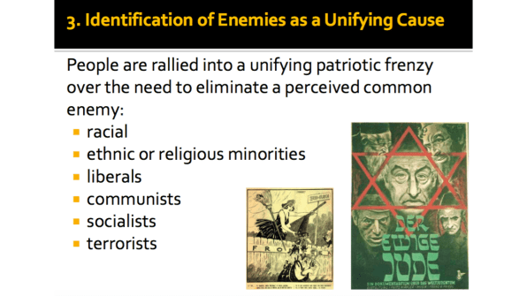 Identification of Enemies as a Unifying Cause