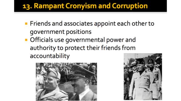 Rampant Cronyism and Corruption