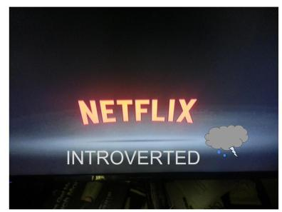 When I was watching Netflix I felt introverted, because I was watching my favorite movie and I don't like to talk with anyone.