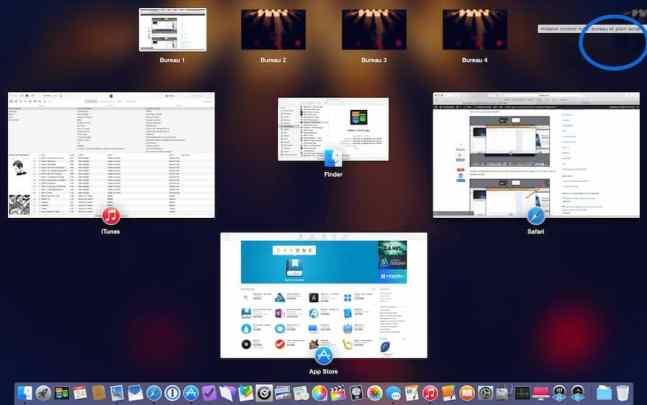 Multi bureau et le mode Plein écran sur Mac