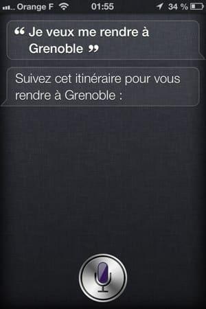 Demande d'un itineraire à Siri