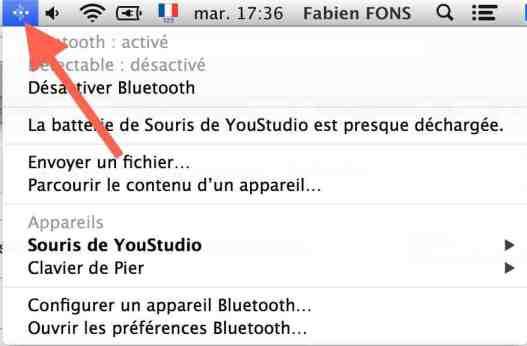 menu bluetooth dans OS X