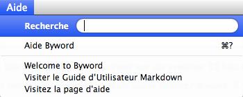 Le menu Aide de Byword